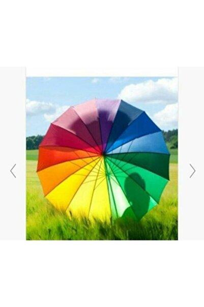 DMR Gökkuşağı Şemsiye Rengarenk 16 Telli Renkli Şemsiye