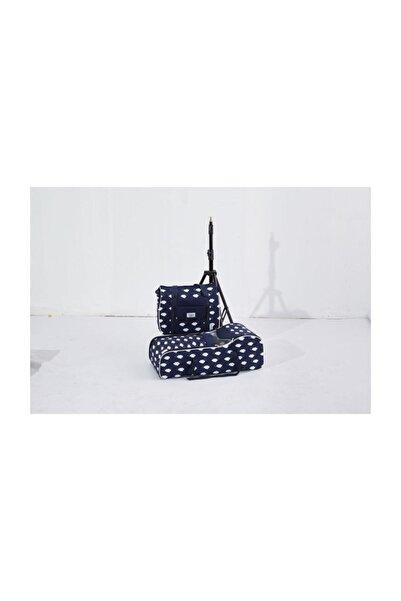 Nenny Baby Lüx 2li Bebek Taşıma Seti(Portbebe+çanta) Lacivert-bulutlu