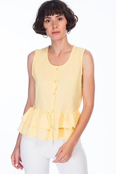 Cotton Mood 82510660 Keten Önü Düğmeli Eteği Fırfırlı Kolsuz Bluz Sarı