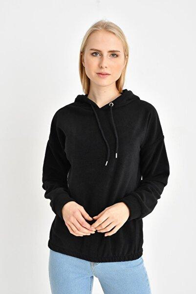 TENA MODA Kadın Siyah Eteği Lastikli Kapüşonlu Polar Sweatshirt