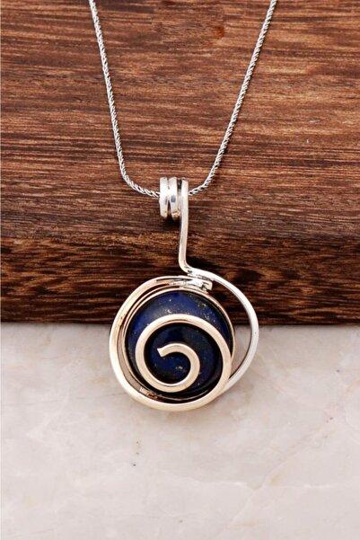 Sümer Telkari Lapis Lazuli Taşlı Tasarım Gümüş Kolye 6446