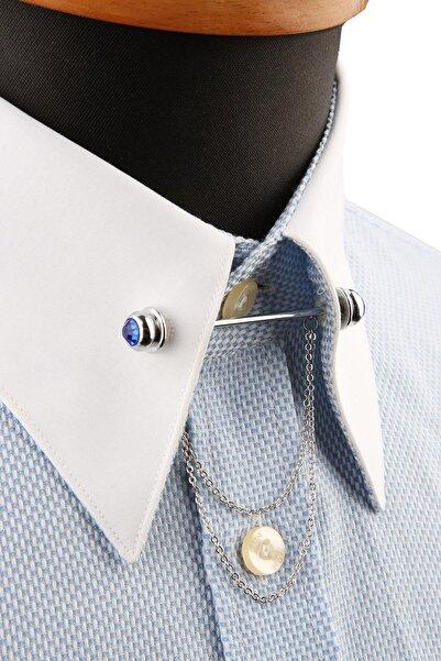 Kravatkolik Saks Taşlı Zincirli Gömlek Yaka Iğnesi Gı206