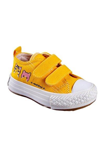Gigi Unisex Çocuk Işıklı Sarı Keten Ayakkabı