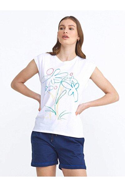 Xint Xınt Yuvarlak Yaka %100 Pamuk Çiçek Baskılı Rahat Kesim Tişört
