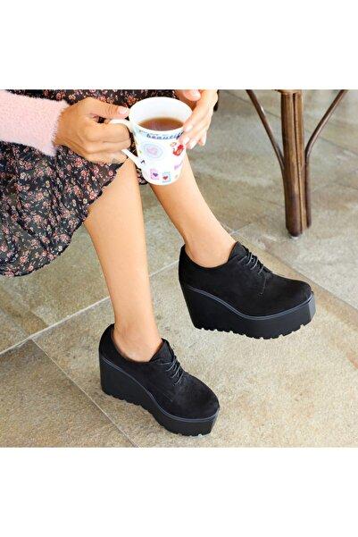 Ayakkabı Delisiyim Revel Süet Siyah Bağcıklı Kalın Tabanlı Ayakkabı