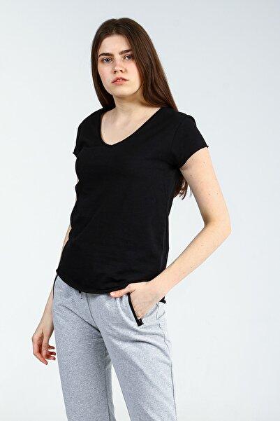 Collezione Sıyah V Yakalı Kısa Kollu Kadın Basic Tshirt