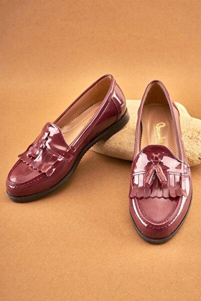 Bambi Bordo Kadın Loafer Ayakkabı K05092050