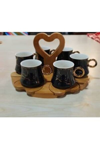 Paçi Bambu Tepsili Tutmalı Siyah Mermer Desen Türk Kahvesi Fincan Takımı Fincan Seti Siyah