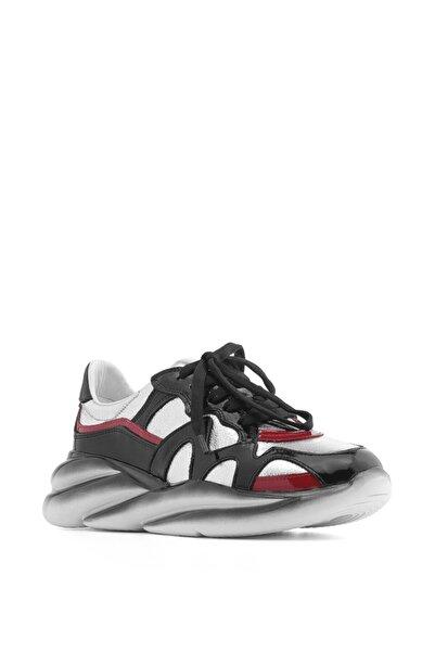 İLVİ Bennet Bayan Spor Ayakkabı Siyah Rugan Gümüş Kristal