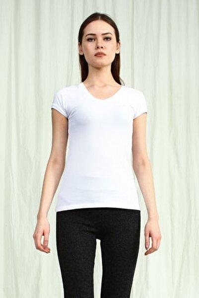 Kadın Beyaz V Yakalı Kısa Kollu Basic Tshirt