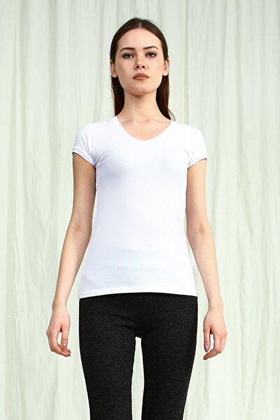 Collezione Kadın Beyaz V Yakalı Kısa Kollu Basic Tshirt