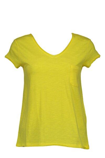 Collezione Sarı Önü Cepli V Yakalı Kadın Basic Tshirt