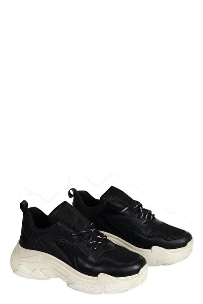 Collezione Kadın  Siyah Kalın Taban Bağcıklı Sneaker