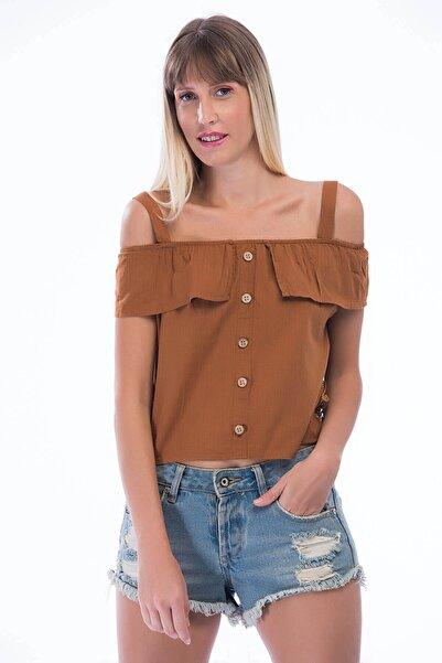 Cotton Mood 83210957 Keten Önü Düğmeli Eteği Güpürlü Askılı Bluz Tarçın