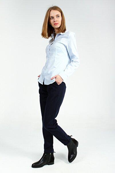 Collezione Kadın  Buz Mavisi Uzun Kollu Pensli Basic  Gömlek