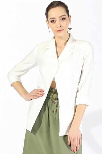 Twister Jeans Kadın Ceket 55228 Cepli Kadın Ceket Beyaz