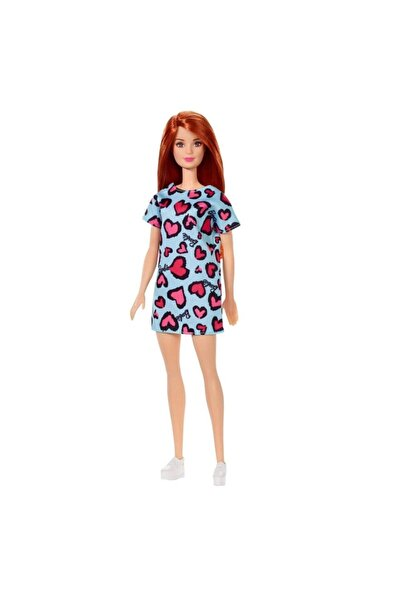 Barbie Şık Koleksiyon Model Bebek Kızıl Saçlı Mavi Kalpli Elbiseli