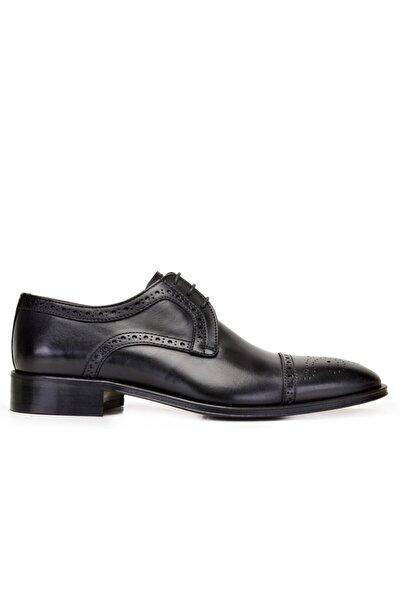 Nevzat Onay Hakiki Deri Siyah Klasik Bağcıklı Kösele Erkek Ayakkabı -8919-