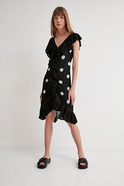 JOIN US Puantiyeli Fırfırlı V Yaka Triko Elbise-siyah