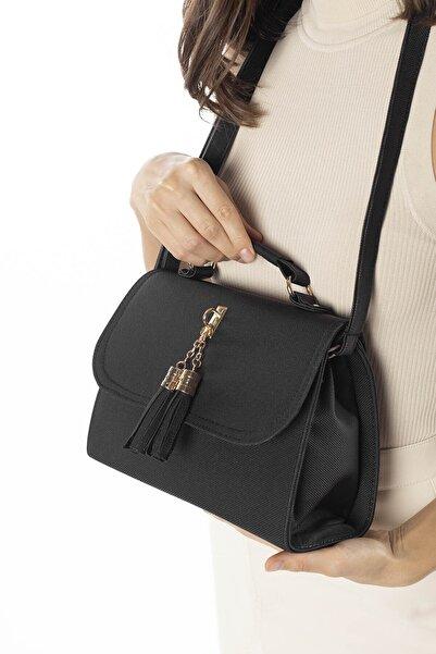 Madamra Aynı Butikte 2.Ürün 1 TL  Siyah Kadın Kutu Kapaklı Aksesuarlı Çapraz Çanta