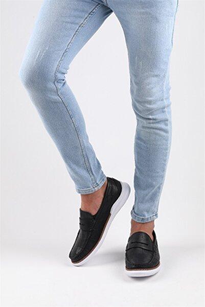 Buffalo Croco Erkek Lacivert Loafer Ayakkabı