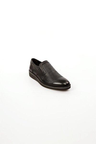 Jakamen Siyah Deri Bağcıksız Erkek Günlük Ayakkabı