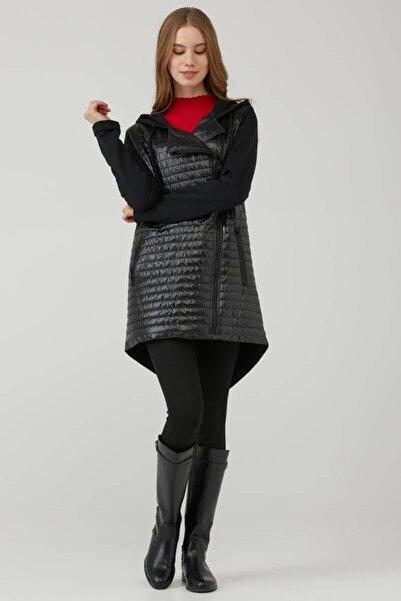 Sementa Kadın Taş Detaylı Kapüşonlu Mont - Siyah