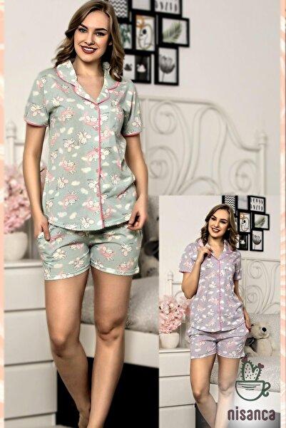 snc Şortlu Önden Düğmeli Kısa Kollu Bayan Pijama Takımı
