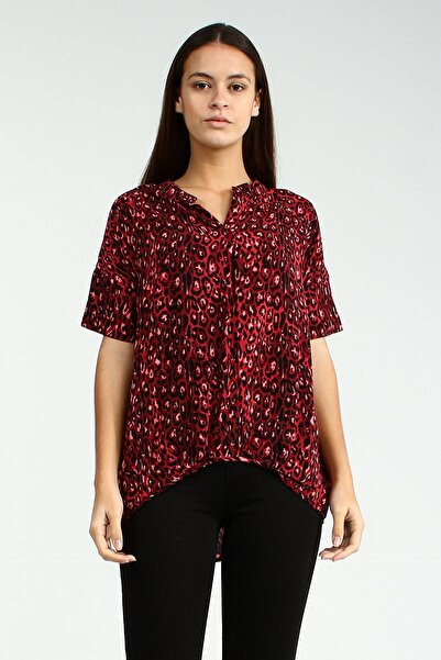 Collezione Kırmızı Kadın Desenli Uzun Kol Bluz