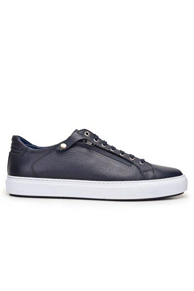 Nevzat Onay Hakiki Deri Lacivert Sneaker Erkek Ayakkabı -9855-