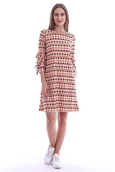 Cotton Mood 20073297 Örme Krep Desenli Kolu Katkat Fırfırlı Elbise Y.agzı