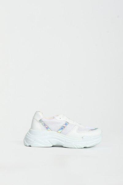 Collezione Beyaz Deri Detaylı Bağcıklı Kadın Kalın Taban Sneaker