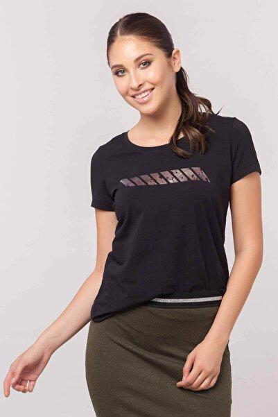 bilcee Siyah Likralı Pamuklu Kadın T-shirt Ew-3006