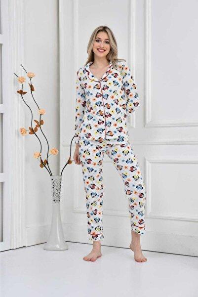 Ars Kadın Miki Desenli Uzun Kol Düğmeli Bisiklet Yaka Mevsimlik Trend Pijama Takımı