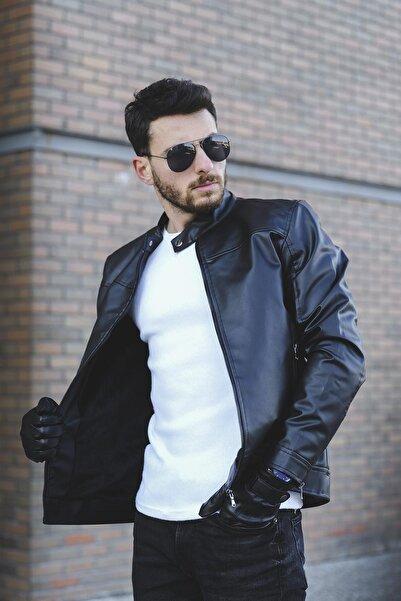 Oksit Tuci Demian Kısa Yaka Slim Fit Erkek Deri Ceket
