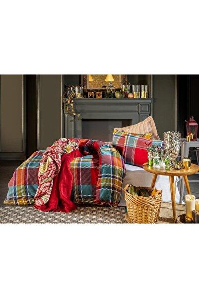 English Home Salford Flanel Çift Kişilik Nevresim Takımı 200x220 Cm Kırmızı