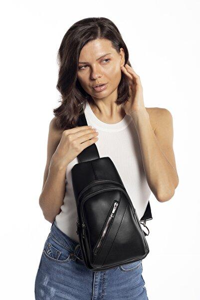 Madamra Aynı Butikte 2.Ürün 1 TL  Siyah Kadın Üç Bölmeli Çanta