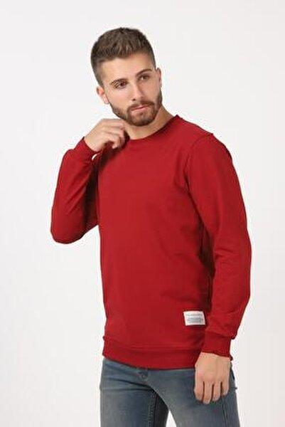Erkek 9-açık Bordo Basic Sweatshirt