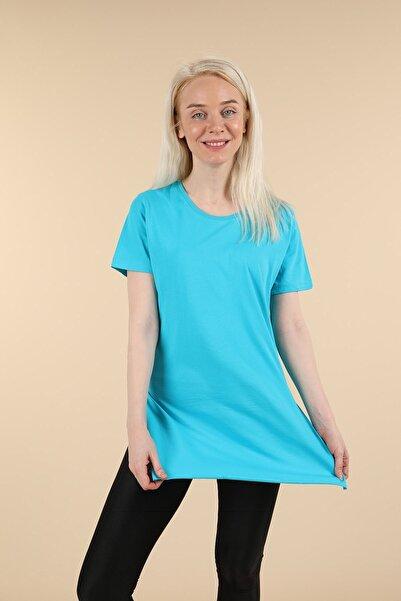 Oblavion Mavi Yırtmaçlı Bisiklet Yaka T-shirt