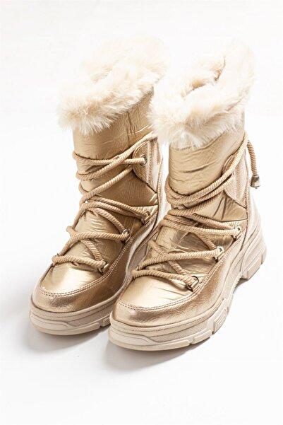 LuviShoes 23 Altın Kadın Bot