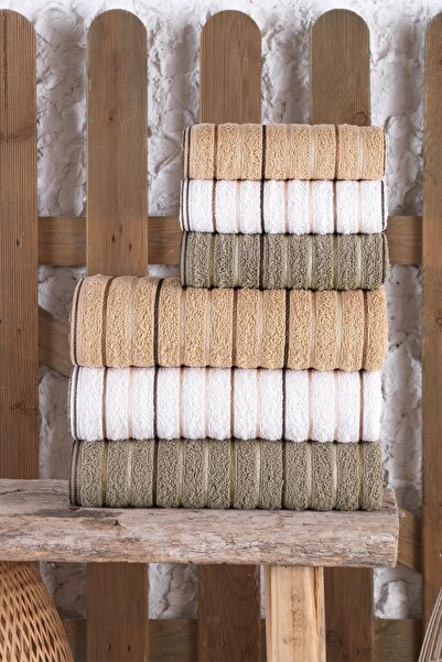 BİNNUR HOME Gold %100 Pamuk 6'lı Antibakteriyel Banyo Havlu Seti