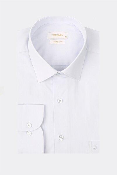 Jakamen Mavi Tek Cepli Klasik Gömlek