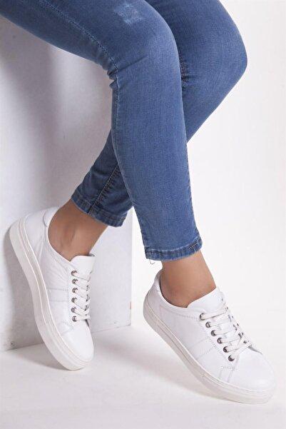 Deripabuc Hakiki Deri Beyaz Kadın Deri Sneaker Trc-0686