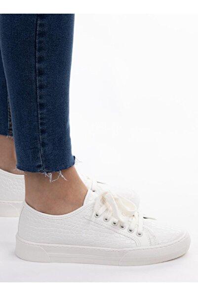 NAVYSIDE Kadın Beyaz Kroko Desenli Sneaker Spor Ayakkabı
