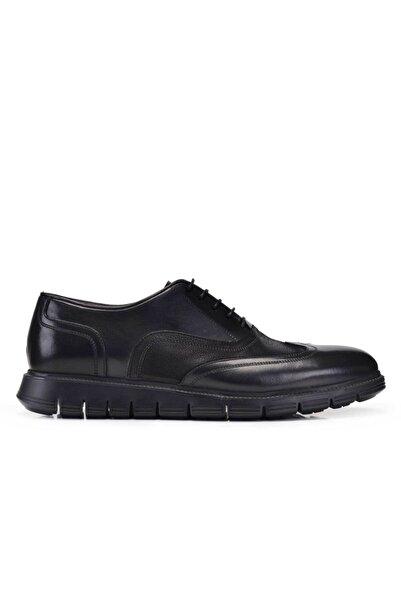 Nevzat Onay Hakiki Deri Siyah Günlük Bağcıklı Erkek Ayakkabı -11491-