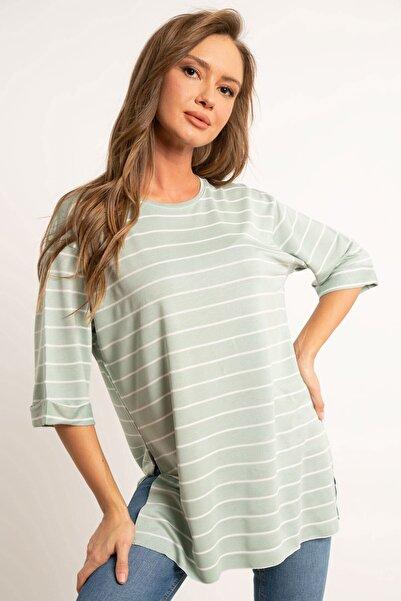 Hadise Çizgili Iki Iplik Boyfriend Tişört Mint Yeşil