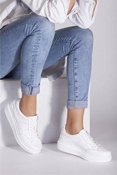 Deripabuc Hakiki Deri Beyaz Kadın Deri Sneaker Trc-0692