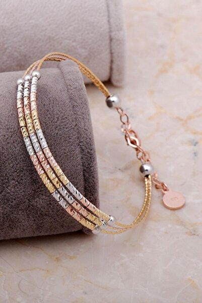Sümer Telkari Dorissa Altın Yaldızlı Gümüş Bilezik 3328