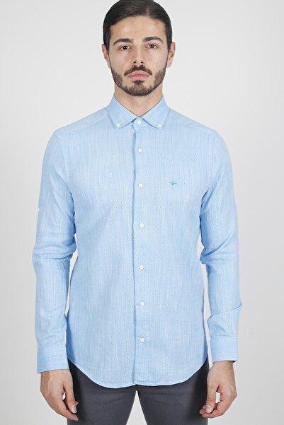 Jakamen Mavi Slim Fit Cepsiz Italyan Yaka Gömlek