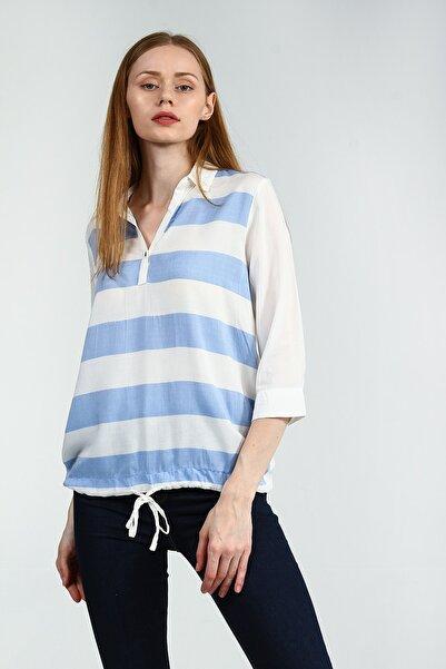 Collezione Buz Mavisi Truvakar Kol Çizgili Beli Bağlama Detaylı Kadın Bluz